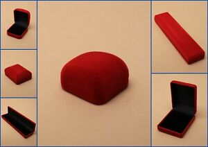 Jewellery Boxes Red Velvet Hinged Flocked Pad Gift Watches Rings pack 12
