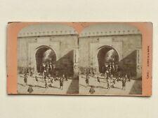 Tunis La Porte de la Marine Tunisie Photo Stereo Vintage Albumine