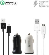 Adaptive Fast Qualcomm QC 3.0 Car Charger w/Micro USB Cable for Alcatel Phones