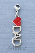 Love, DAD Heart Clip On Charm Lobster Clasp for Link Chain, Floating locket C8