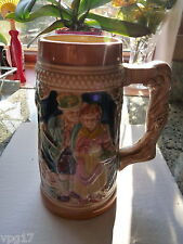 LARGE   CERAMIC BEER STEIN TANKARD DECORATED WITH COUPLE  FIR TREES  USED 12L