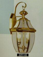 Large Gold Brass Outdoor House Light Porch Deck Lamp Lantern Fixture 2x60 W.