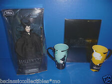 Disney Store Maleficent Doll, Limited Edition Lithograph Set & 2 Mugs New!!