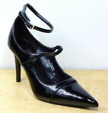 M&S Black PATENT High STILETTO HEEL Ankle Strap COURT SHOES ~ Size 5.5