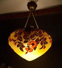 LA ROCHERE-RARE SUSPENSION EN VERRE MULTICOUCHES GRAVEE-ART NOUVEAU-LAMPE