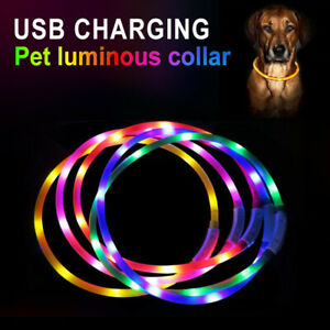 Waterproof Pet Pendant Dog USB Rechargeable LED Collar Belt Safety Adjustable