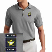 United States Army Retired Star Logo EMBROIDERED Sport Gray Polo Shirt
