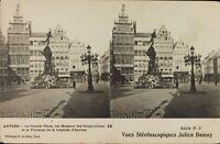 Francia Anvers Gran Plaza Fuente, Estéreo Tarjeta Postal Héliotypie Aprox 1920