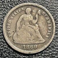1869 S Seated Liberty Half Dime 5c Better Grade RARE #20747