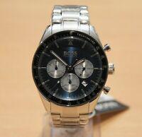 Brand New HUGO BOSS 1513630 Silver Mens Trophy Chrograph Watch Tachymeter
