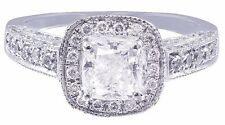 14k White Gold Cushion Cut Diamond Engagement Ring Bridal Halo Deco Pave 1.35ctw