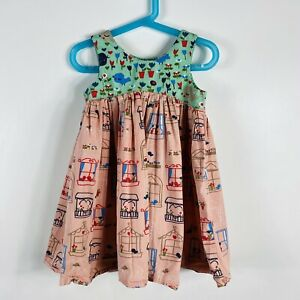Jelly The Pug Size 3T Graphic Print Dress Pink Green Flowers Birds Windows