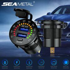 LED Dual USB Fast Car Charger Socket Power Outlet For Boat Flow Digital Display