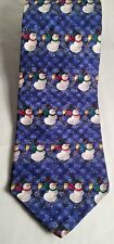 Hallmark Holiday Traditions Men's All Silk Necktie Made in USA Snowmen Design