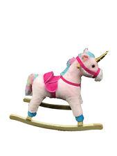Kids Ride On Rocking Horse Unicorn Soft Plush Rocker Toy pink