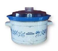 Rival 4 Qt Crock Pot Stoneware Slow Cooker 3154 Vintage Blue Floral Plastic Lid