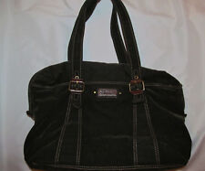 FOSSIL vintage revival velvet corduroy / leather duffle travel tote shoulder bag