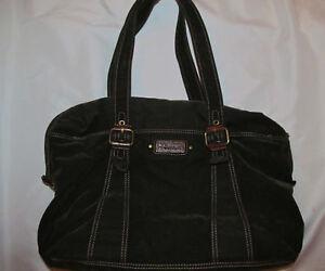 FOSSIL vintage revival velvet corduroy / leather duffle travel tote shoulder bag