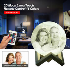Personalized Moon Night Light Lamp 3D Printed Custom Photo Charging W/ Battery
