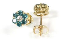 0.5 ctw Natural Blue Diamond Solid 14k Gold Cluster Flower Stud Earrings (6 MM)