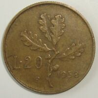 1958  ITALY 20 LIRE   NICE WORLD COIN
