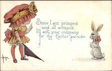 Easter - Little girl in Huge Hat - White Rabbit BENJEN c1915 Postcard