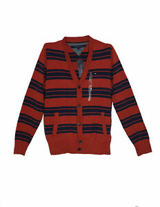 TOMMY HILFIGER SIZE XL MEN'S COTTON CLASSIC FIT SWEATER KNIT CARDIGAN STRIPED