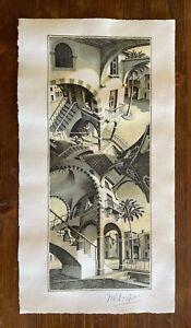 MAURITIUS ESCHER - Etching on original papet of 1960's