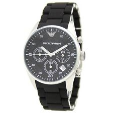 Emporio Armani AR5868 Silver Black Dial Rubber Chrono Ladies SS Sports Watch NEW