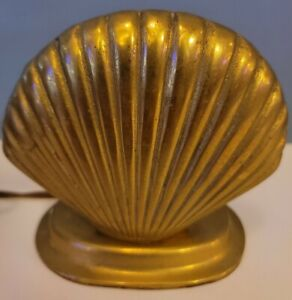 Vintage Clam Shell Gold Toned Metal Small Electric Table Lamp