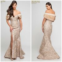 TERANI  COUTURE 1721M4315 CHAMPAGNE-GOLD OFF SHOULDER  BROCADE GOWN MSRP$699