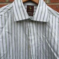 EUC Tailorbyrd Mens Dress Shirt Sz L Long Sleeve Green Blue Stripe