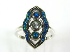.10ct Natural Blue Topaz & Opal Victorian Deco Sterling Filigree Ring 1005B