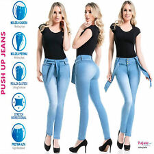 Colombian Faja Push Up Jeans SkyBlue Butt Lifter High Rise Flat Abs Levanta Cola