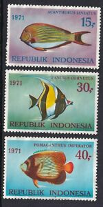 INDONESIA 1971 MINT SET #810/12, VARIOUS FISH !! T16