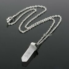 Crystal Quartz Healing Point Chakra Natural Gem Stone Bead Pendant Necklace!!
