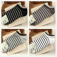 4 Pairs Women Men Invisible Ankle No Show Low Cut Cotton Striped Boat Socks