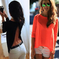 Women Open Back Tops Long Sleeve Shirt Casual Blouse Loose T-shirt Tops Tee F