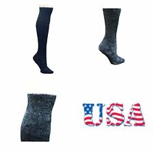 Women Over The Knee High  Puffy Socks Warm Plush Thick Heavy Ski Snow 9-11 Black