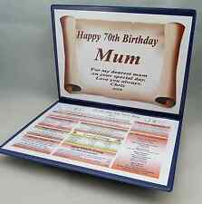 70TH  BIRTHDAY GIFT- FULLY PERSONALISED  ITEM -THE DAY YOU WERE BORN + MESSAGE