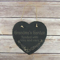 Personalised Birthday Home Gift Grandma's Garden Slate Hanging Sign Plaque