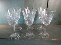 6 vasos pie vino o agua antiguo cristal vajilla french antiguo