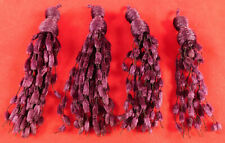 Vintage Victorian Antique Purple Silk Chenille Fringe Tassel Trim Lot 4 Piece