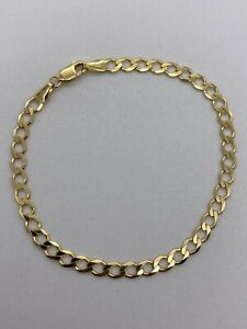 Genuine Solid 9ct Gold Mens&Woman 4.5mm Curb Bracelet 7.5 New