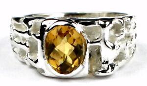 CITRINE Sterling Silver Men's Ring, Handmade • SR197