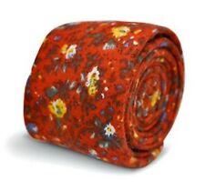 Frederick Thomas Rouge Floral Homme Cravate en 100% Laine