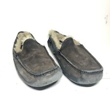 UGG Mens Ascot Suede Closed Toe Slip On Slippers Gray Moc Toe Faux Fur Lined 9