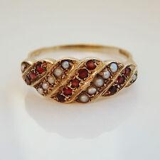 Charming Vintage 9ct Gold Garnet & Pearl set Ring c1959; UK Ring Size 'S 1/2'