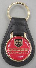 Red Dodge DAKOTA Black Leather Goldtone Keyring 1987 1988 1989 1990 1991 1992