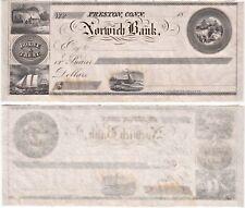 Circa 1850's Norwich Bank Preston Connecticut Doane & Treat Unissued Check